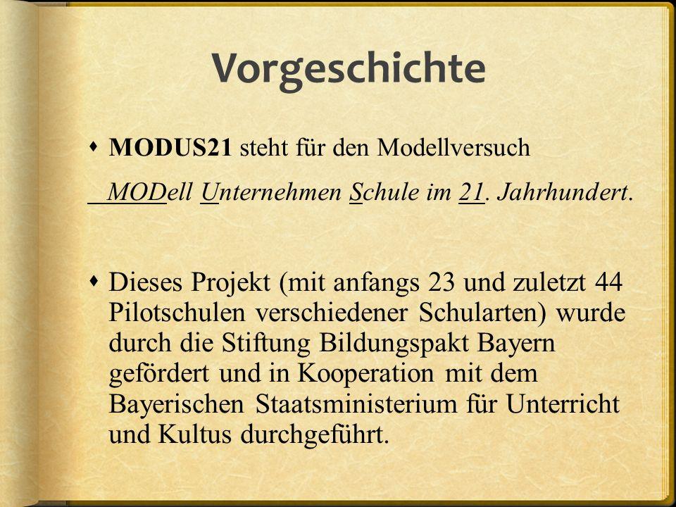 Vorgeschichte MODUS21 steht für den Modellversuch MODell Unternehmen Schule im 21. Jahrhundert. Dieses Projekt (mit anfangs 23 und zuletzt 44 Pilotsch