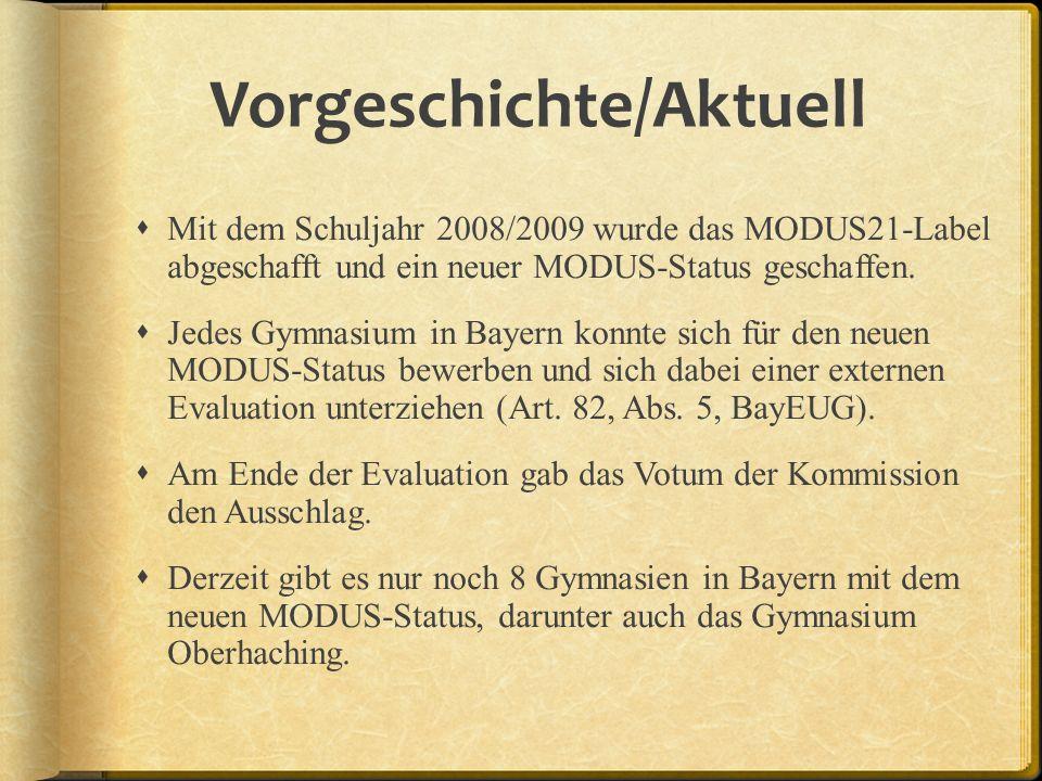 Vorgeschichte/Aktuell Mit dem Schuljahr 2008/2009 wurde das MODUS21-Label abgeschafft und ein neuer MODUS-Status geschaffen. Jedes Gymnasium in Bayern