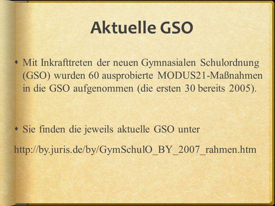 Aktuelle GSO Mit Inkrafttreten der neuen Gymnasialen Schulordnung (GSO) wurden 60 ausprobierte MODUS21-Maßnahmen in die GSO aufgenommen (die ersten 30