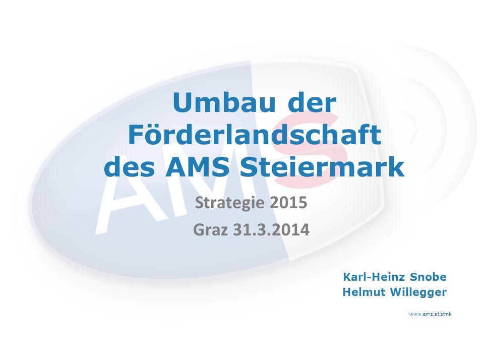 www.ams.at/stmk Umbau der Förderlandschaft des AMS Steiermark Strategie 2015 Graz 31.3.2014 Karl-Heinz Snobe Helmut Willegger
