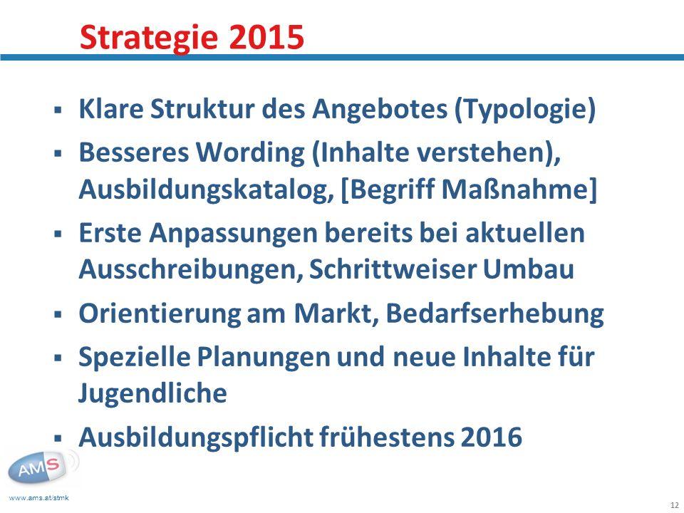 www.ams.at/stmk 12 Klare Struktur des Angebotes (Typologie) Besseres Wording (Inhalte verstehen), Ausbildungskatalog, [Begriff Maßnahme] Erste Anpassu