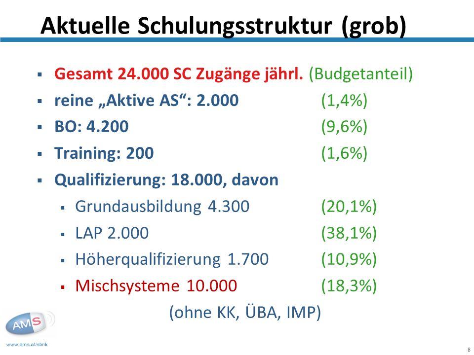 www.ams.at/stmk 8 Gesamt 24.000 SC Zugänge jährl. (Budgetanteil) reine Aktive AS: 2.000 (1,4%) BO: 4.200 (9,6%) Training: 200 (1,6%) Qualifizierung: 1