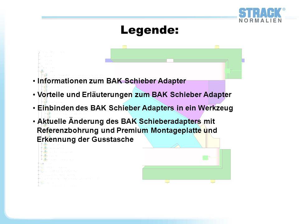 2 Informationen zum BAK Schieber Adapter: Die Konstruktion BAK Schieber Adapters richtet sich nach der Basisrichtlinie für die Konstruktion von Presswerkzeugen mit Catia V5 vom 01.10.2008 Diese Richtlinie soll dazu dienen, die Einführung von CATIA V5 in der Betriebsmittelkonstruktion zu unterstützen und eine einheitliche Struktur der CAD Modelle zu erreichen.