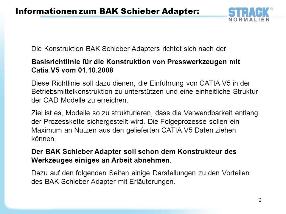 2 Informationen zum BAK Schieber Adapter: Die Konstruktion BAK Schieber Adapters richtet sich nach der Basisrichtlinie für die Konstruktion von Pressw