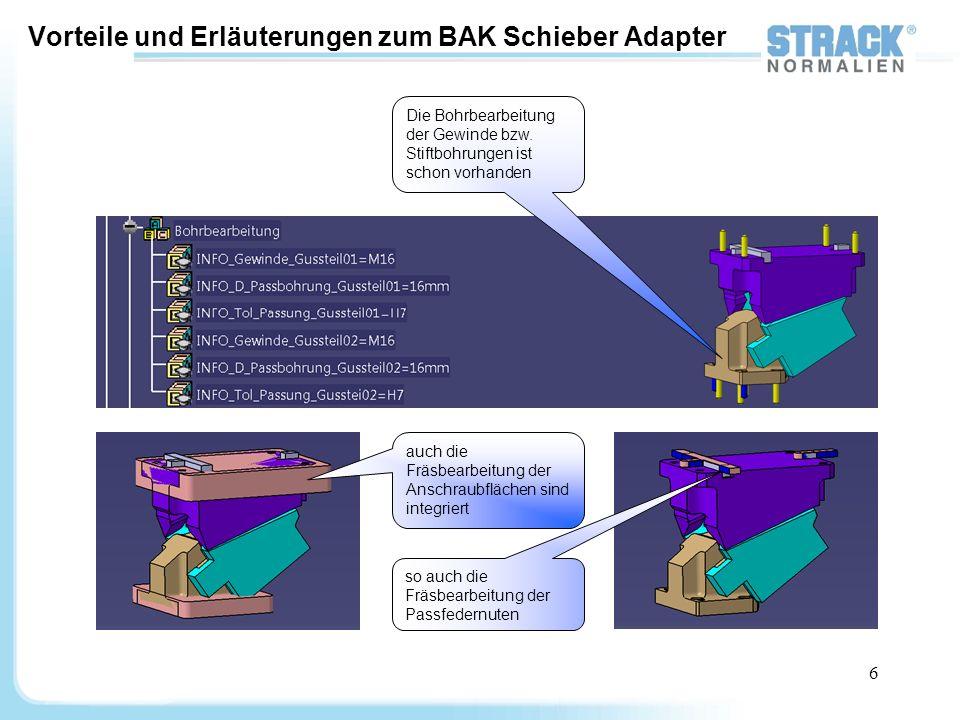 7 Vorteile und Erläuterungen zum BAK Schieber Adapter Diese Geometrischen Sets enthalten Elemente die zum Einbau und Platzieren des Schiebers im Werkzeug dienen.
