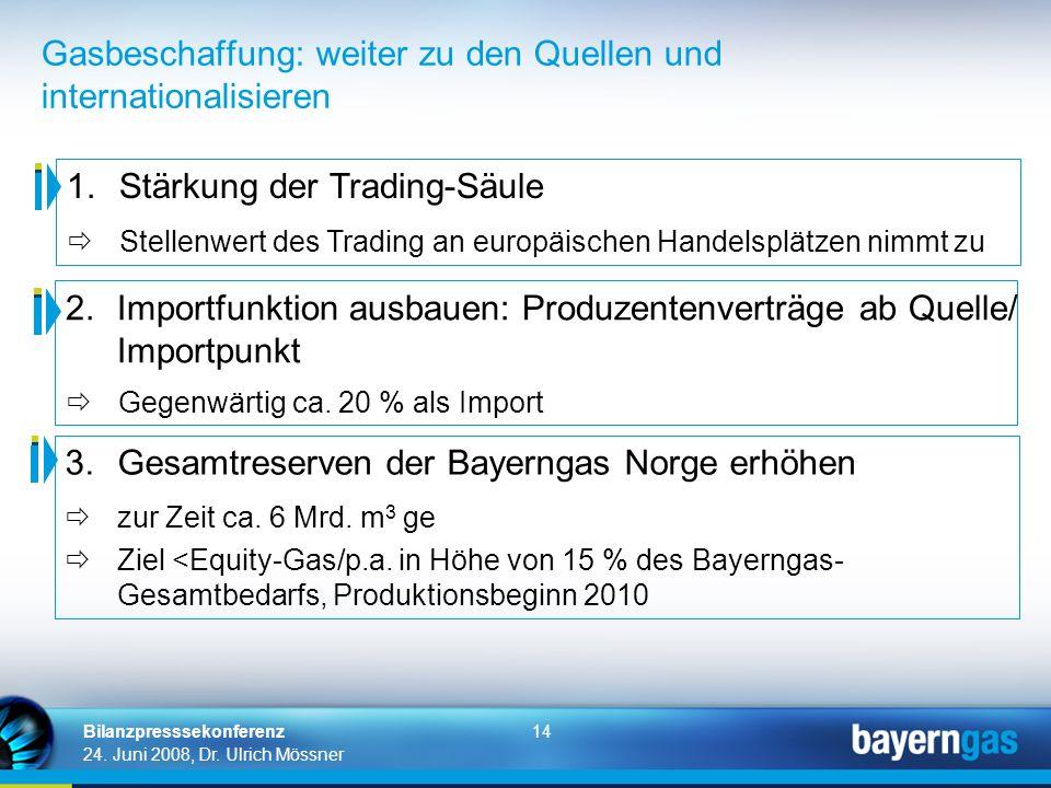 14 24. Juni 2008, Dr. Ulrich Mössner Bilanzpresssekonferenz Gasbeschaffung: weiter zu den Quellen und internationalisieren 1.Stärkung der Trading-Säul