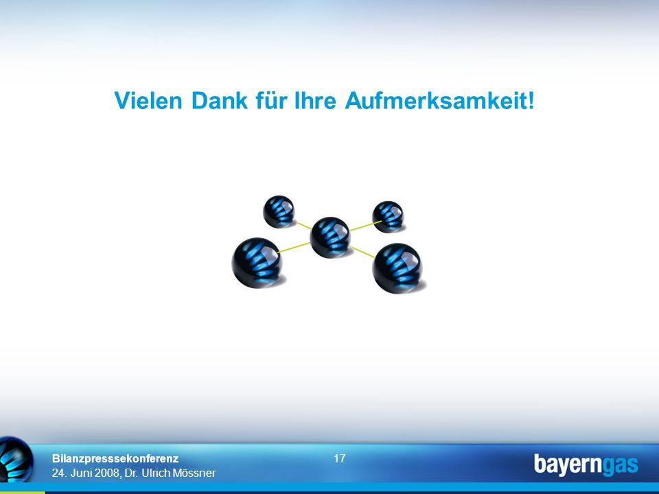 17 24. Juni 2008, Dr. Ulrich Mössner Bilanzpresssekonferenz Vielen Dank für Ihre Aufmerksamkeit!