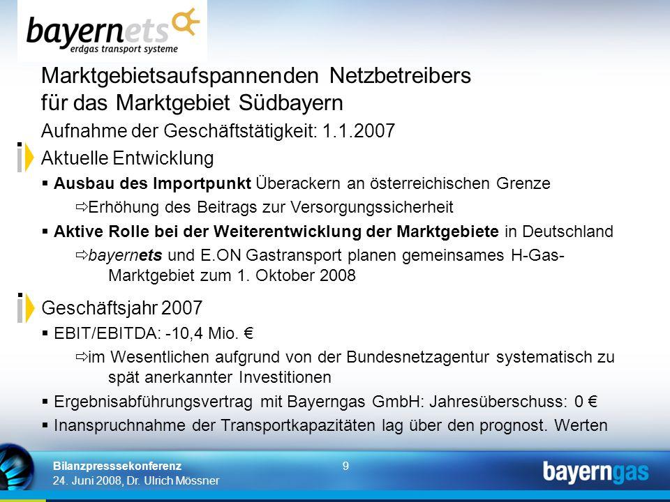 9 24. Juni 2008, Dr. Ulrich Mössner Bilanzpresssekonferenz Marktgebietsaufspannenden Netzbetreibers für das Marktgebiet Südbayern Aufnahme der Geschäf