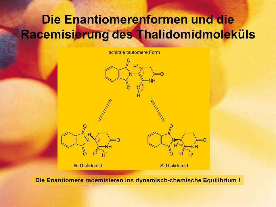 Die Enantiomerenformen und die Racemisierung des Thalidomidmoleküls Die Enantiomere racemisieren ins dynamisch-chemische Equilibrium !