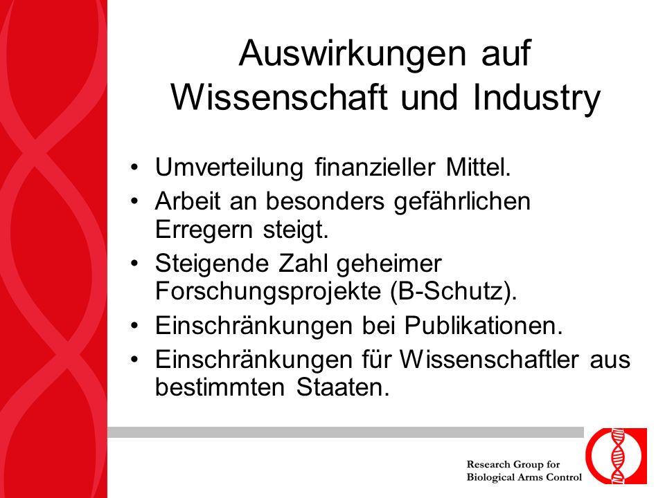 Auswirkungen auf Wissenschaft und Industry Umverteilung finanzieller Mittel.