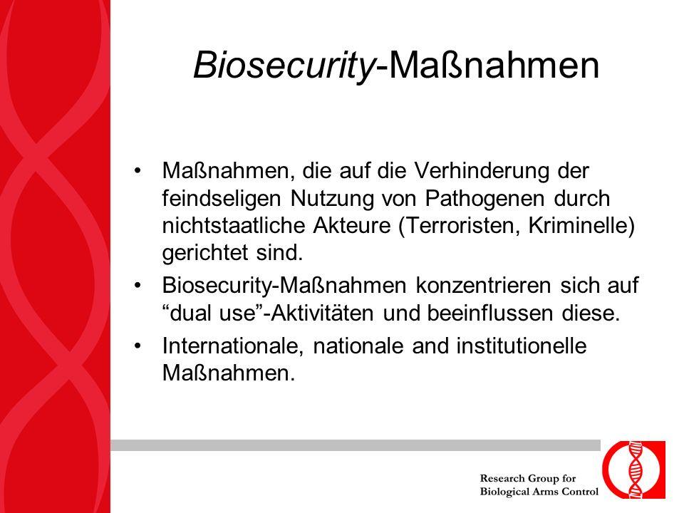 Biosecurity-Maßnahmen Maßnahmen, die auf die Verhinderung der feindseligen Nutzung von Pathogenen durch nichtstaatliche Akteure (Terroristen, Kriminelle) gerichtet sind.