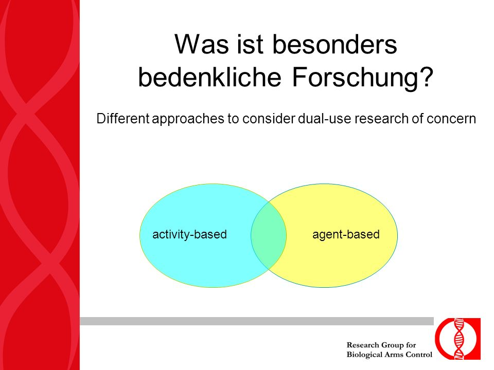 Was ist besonders bedenkliche Forschung? Different approaches to consider dual-use research of concern agent-based activity-based