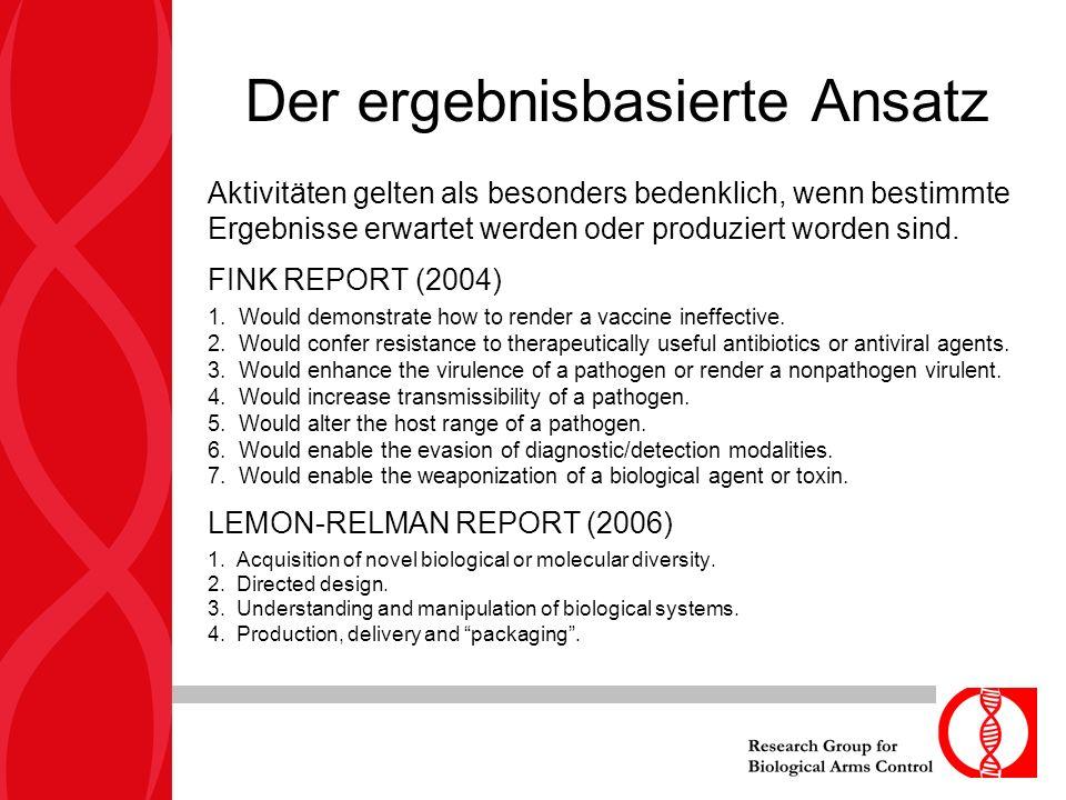 Der ergebnisbasierte Ansatz Aktivitäten gelten als besonders bedenklich, wenn bestimmte Ergebnisse erwartet werden oder produziert worden sind. FINK R