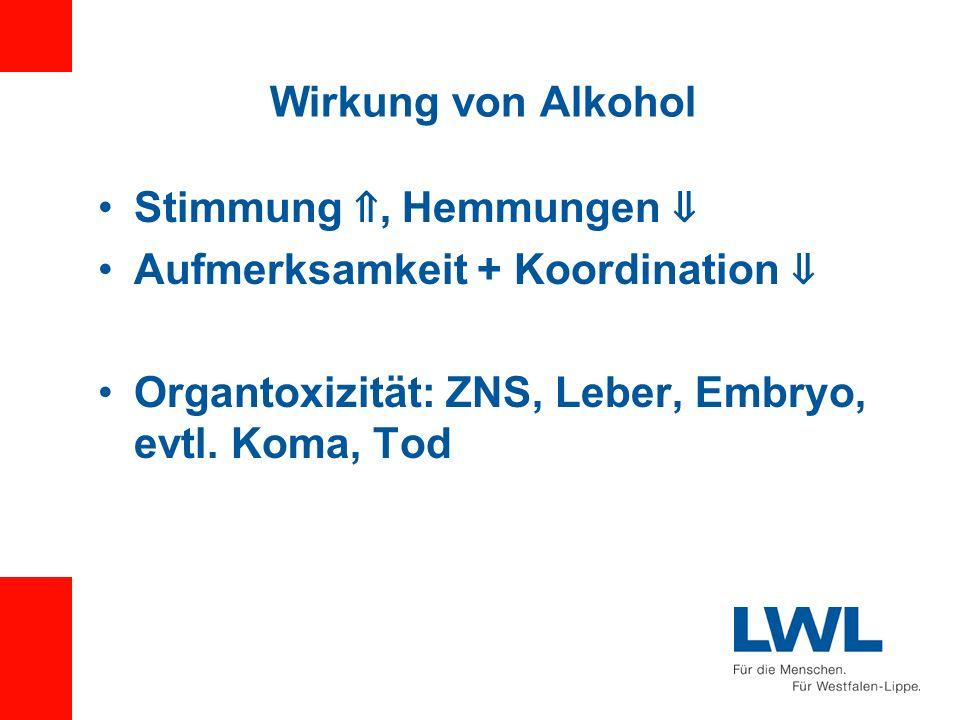Wirkung von Alkohol Stimmung, Hemmungen Aufmerksamkeit + Koordination Organtoxizität: ZNS, Leber, Embryo, evtl. Koma, Tod