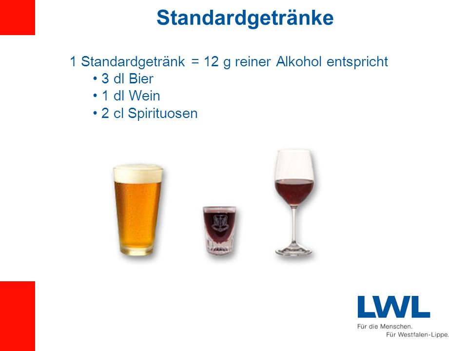 Standardgetränke 1 Standardgetränk = 12 g reiner Alkohol entspricht 3 dl Bier 1 dl Wein 2 cl Spirituosen
