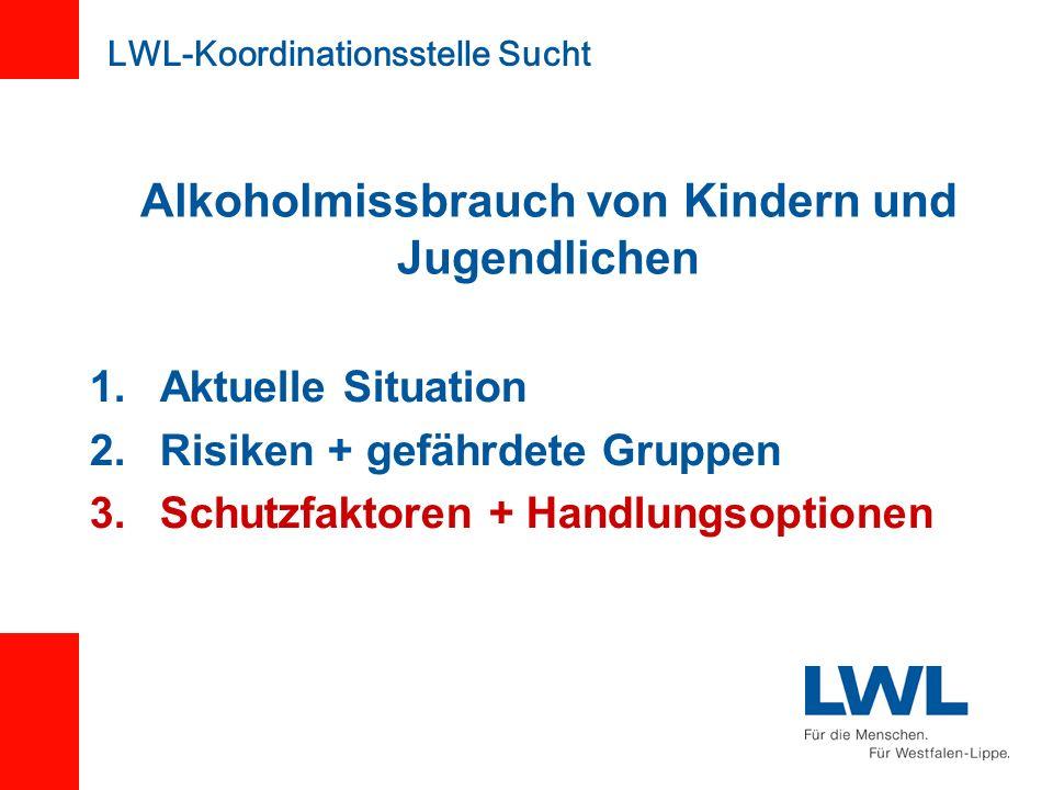 1.Aktuelle Situation 2.Risiken + gefährdete Gruppen 3.Schutzfaktoren + Handlungsoptionen LWL-Koordinationsstelle Sucht Alkoholmissbrauch von Kindern u