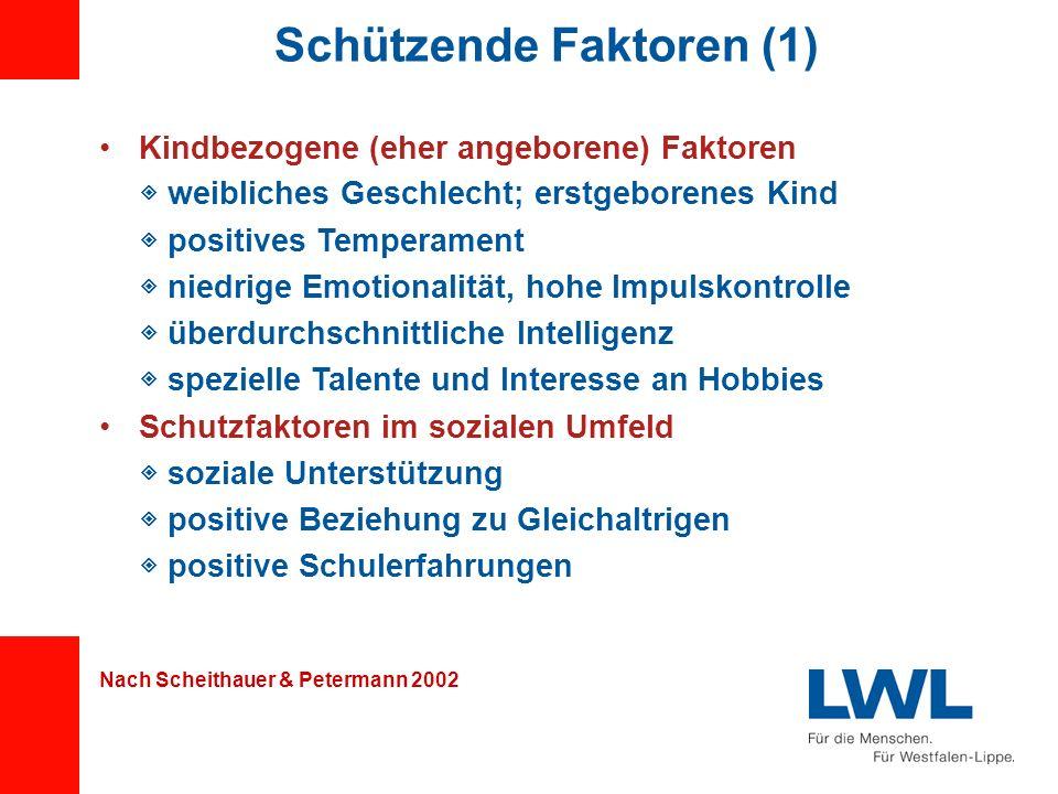 Schützende Faktoren (1) Kindbezogene (eher angeborene) Faktoren weibliches Geschlecht; erstgeborenes Kind positives Temperament niedrige Emotionalität