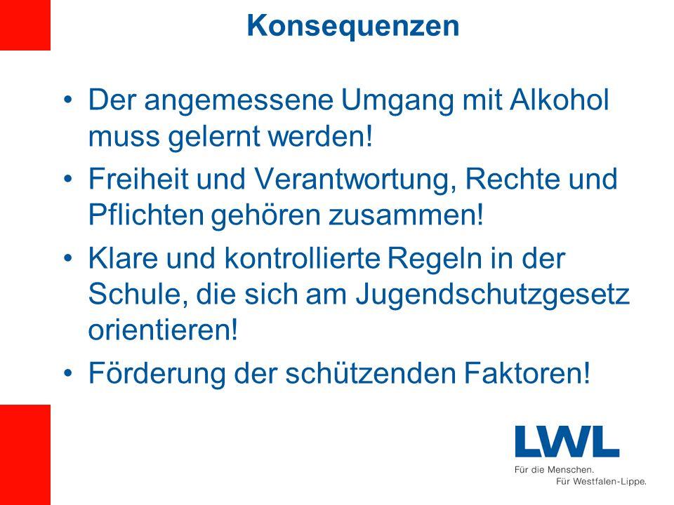 Konsequenzen Der angemessene Umgang mit Alkohol muss gelernt werden! Freiheit und Verantwortung, Rechte und Pflichten gehören zusammen! Klare und kont