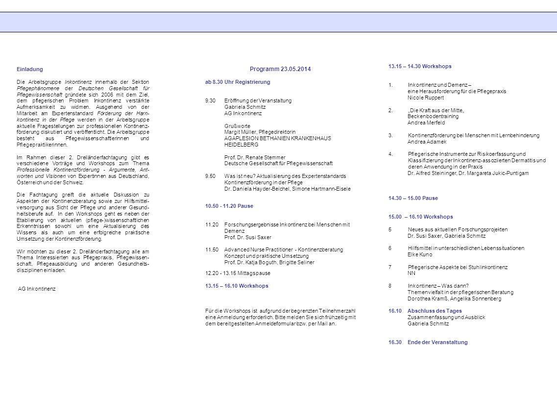 13.15 – 14.30 Workshops 1.Inkontinenz und Demenz – eine Herausforderung für die Pflegepraxis Nicole Ruppert 2.Die Kraft aus der Mitte Beckenbodentrain