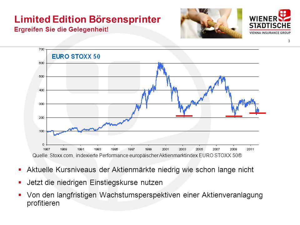 3 Limited Edition Börsensprinter Ergreifen Sie die Gelegenheit! Aktuelle Kursniveaus der Aktienmärkte niedrig wie schon lange nicht Jetzt die niedrige