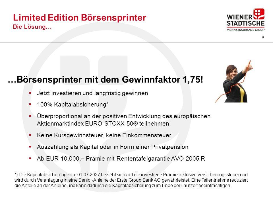 8 Limited Edition Börsensprinter Die Lösung… …Börsensprinter mit dem Gewinnfaktor 1,75! Jetzt investieren und langfristig gewinnen 100% Kapitalabsiche