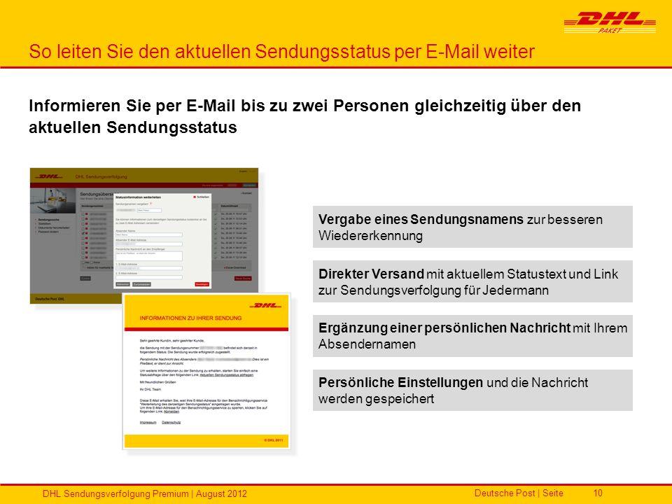 Deutsche Post | Seite DHL Sendungsverfolgung Premium | August 2012 10 So leiten Sie den aktuellen Sendungsstatus per E-Mail weiter Vergabe eines Sendu