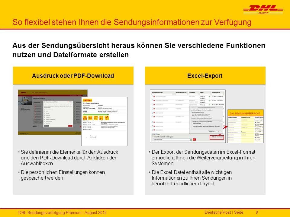 Deutsche Post | Seite DHL Sendungsverfolgung Premium | August 2012 9 So flexibel stehen Ihnen die Sendungsinformationen zur Verfügung Aus der Sendungs