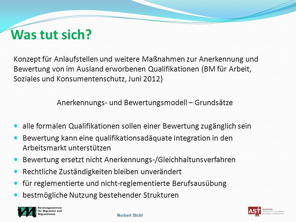 Was tut sich? Konzept für Anlaufstellen und weitere Maßnahmen zur Anerkennung und Bewertung von im Ausland erworbenen Qualifikationen (BM für Arbeit,