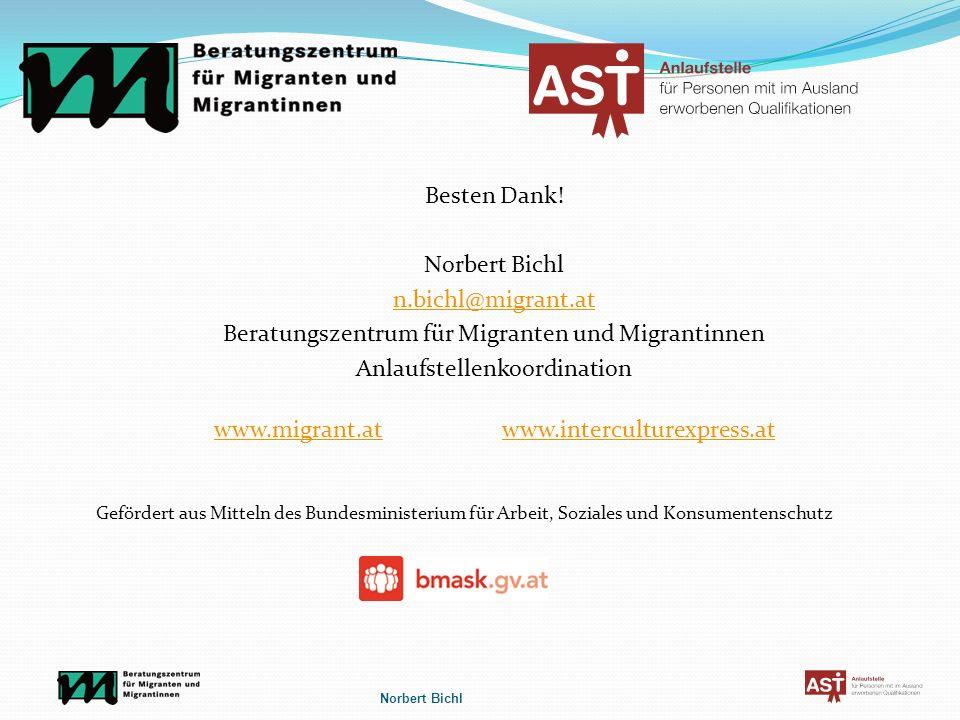 Besten Dank! Norbert Bichl n.bichl@migrant.at Beratungszentrum für Migranten und Migrantinnen Anlaufstellenkoordination www.migrant.atwww.interculture