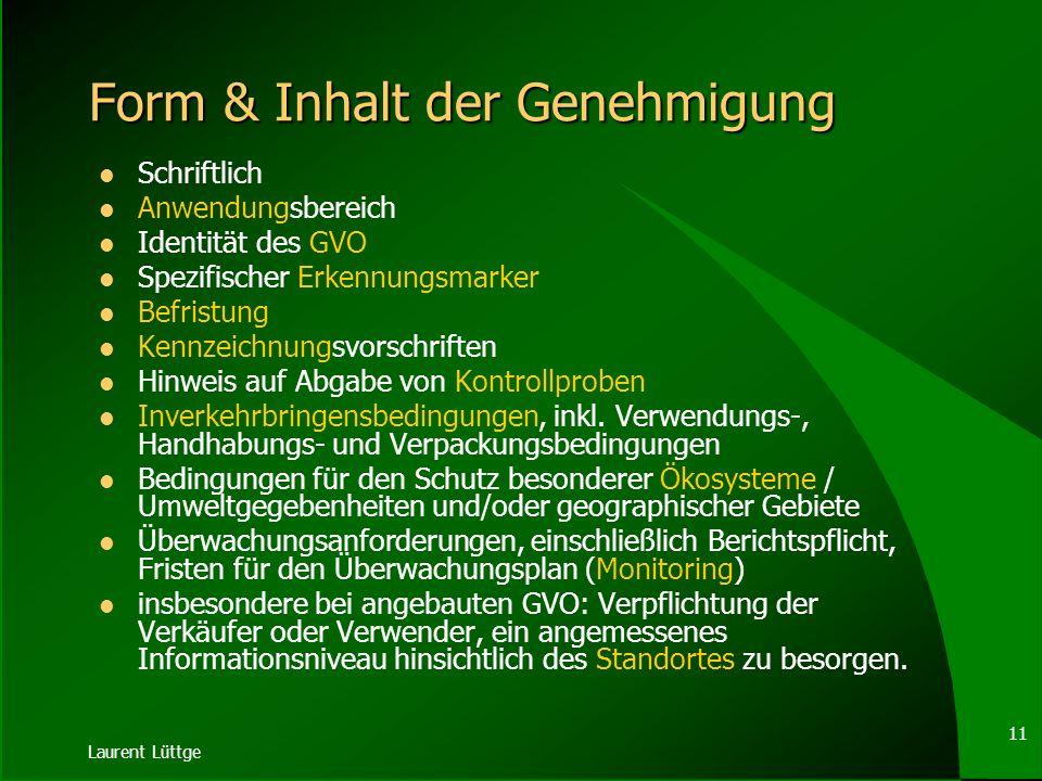 Laurent Lüttge 10 Teil C - Inverkehrbringen Zentrales Instrument: Genehmigungsvorbehalt mit weitgehend europäisiertem Verfahren (transeuropäische Verw