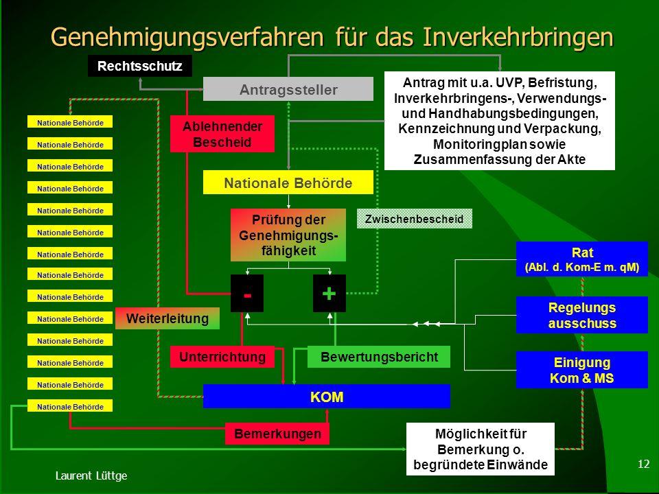 Laurent Lüttge 11 Form & Inhalt der Genehmigung Schriftlich Anwendungsbereich Identität des GVO Spezifischer Erkennungsmarker Befristung Kennzeichnung