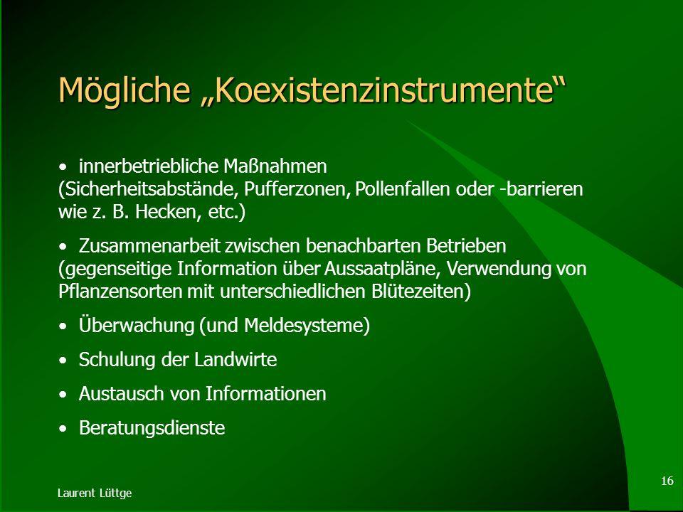 Laurent Lüttge 15 Koexistenzleitlinien EMPFEHLUNG DER KOMMISSION vom 23.07.2003 mit Leitlinien für die Erarbeitung einzelstaatlicher Strategien und ge