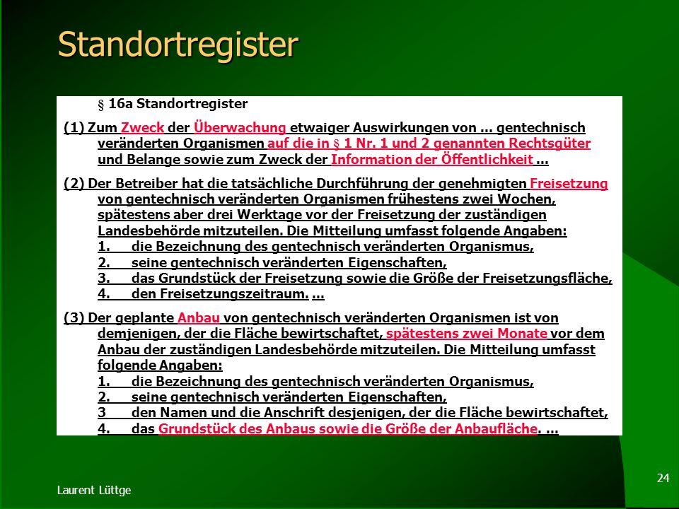 Laurent Lüttge 23 Beteiligungen § 16 Genehmigung bei Freisetzung und Inverkehrbringen (4) Die Entscheidung über eine Freisetzung ergeht im Einvernehme