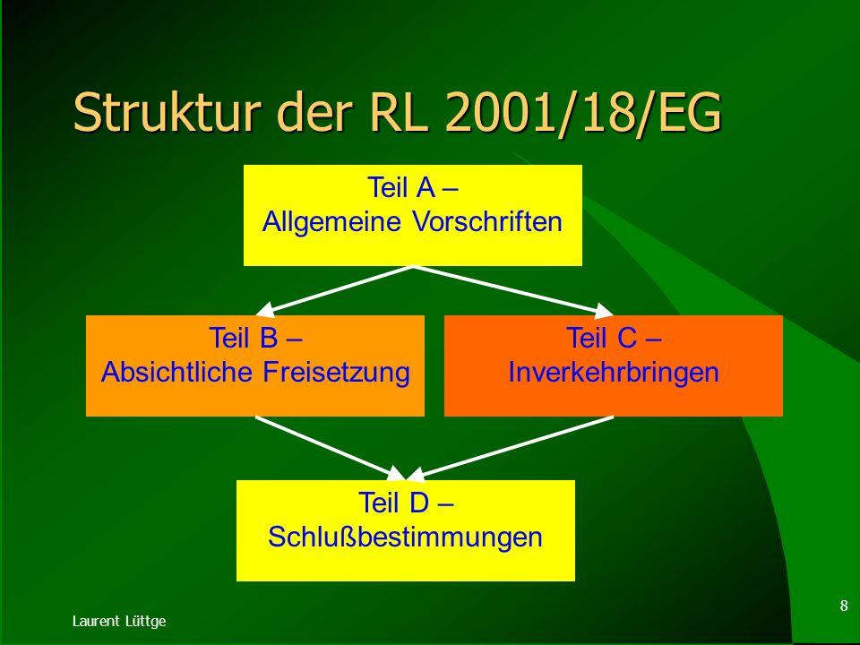 Laurent Lüttge 8 Struktur der RL 2001/18/EG Teil A – Allgemeine Vorschriften Teil B – Absichtliche Freisetzung Teil C – Inverkehrbringen Teil D – Schlußbestimmungen