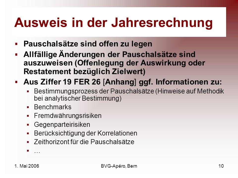 1. Mai 2006BVG-Apéro, Bern10 Ausweis in der Jahresrechnung Pauschalsätze sind offen zu legen Allfällige Änderungen der Pauschalsätze sind auszuweisen
