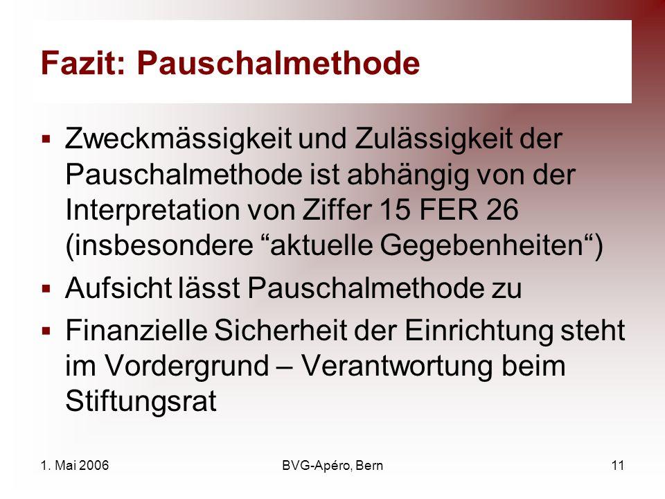 1. Mai 2006BVG-Apéro, Bern11 Fazit: Pauschalmethode Zweckmässigkeit und Zulässigkeit der Pauschalmethode ist abhängig von der Interpretation von Ziffe