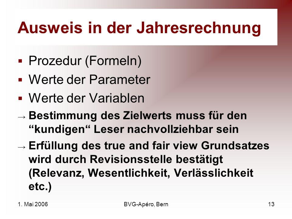 1. Mai 2006BVG-Apéro, Bern13 Ausweis in der Jahresrechnung Prozedur (Formeln) Werte der Parameter Werte der Variablen Bestimmung des Zielwerts muss fü