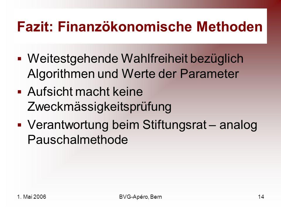 1. Mai 2006BVG-Apéro, Bern14 Fazit: Finanzökonomische Methoden Weitestgehende Wahlfreiheit bezüglich Algorithmen und Werte der Parameter Aufsicht mach
