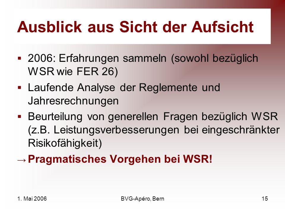 1. Mai 2006BVG-Apéro, Bern15 Ausblick aus Sicht der Aufsicht 2006: Erfahrungen sammeln (sowohl bezüglich WSR wie FER 26) Laufende Analyse der Reglemen