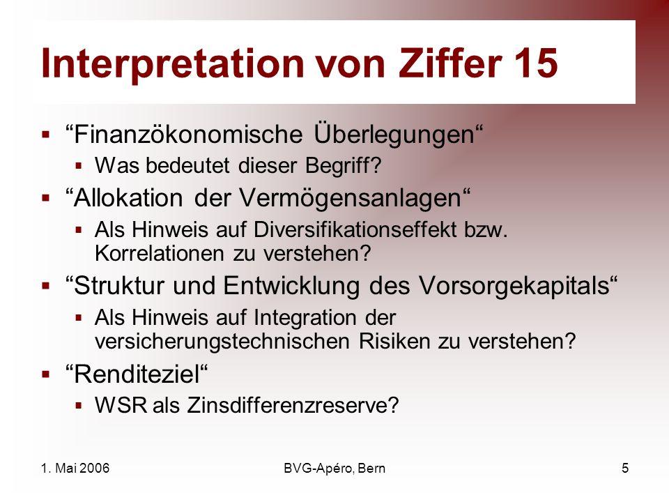 1. Mai 2006BVG-Apéro, Bern5 Interpretation von Ziffer 15 Finanzökonomische Überlegungen Was bedeutet dieser Begriff? Allokation der Vermögensanlagen A
