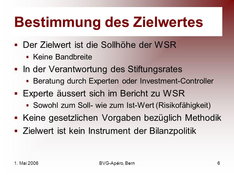1. Mai 2006BVG-Apéro, Bern6 Bestimmung des Zielwertes Der Zielwert ist die Sollhöhe der WSR Keine Bandbreite In der Verantwortung des Stiftungsrates B