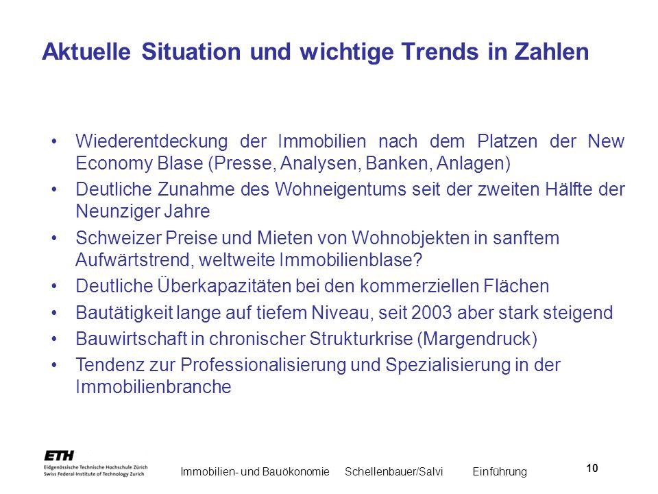 Immobilien- und BauökonomieSchellenbauer/Salvi Einführung 10 Aktuelle Situation und wichtige Trends in Zahlen Wiederentdeckung der Immobilien nach dem