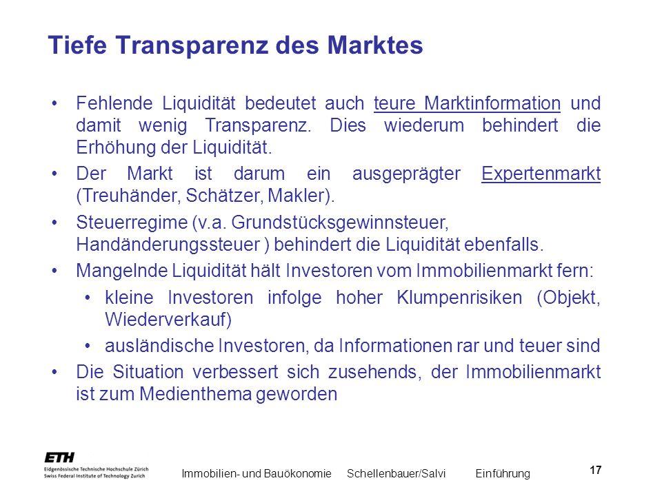 Immobilien- und BauökonomieSchellenbauer/Salvi Einführung 17 Tiefe Transparenz des Marktes Fehlende Liquidität bedeutet auch teure Marktinformation un