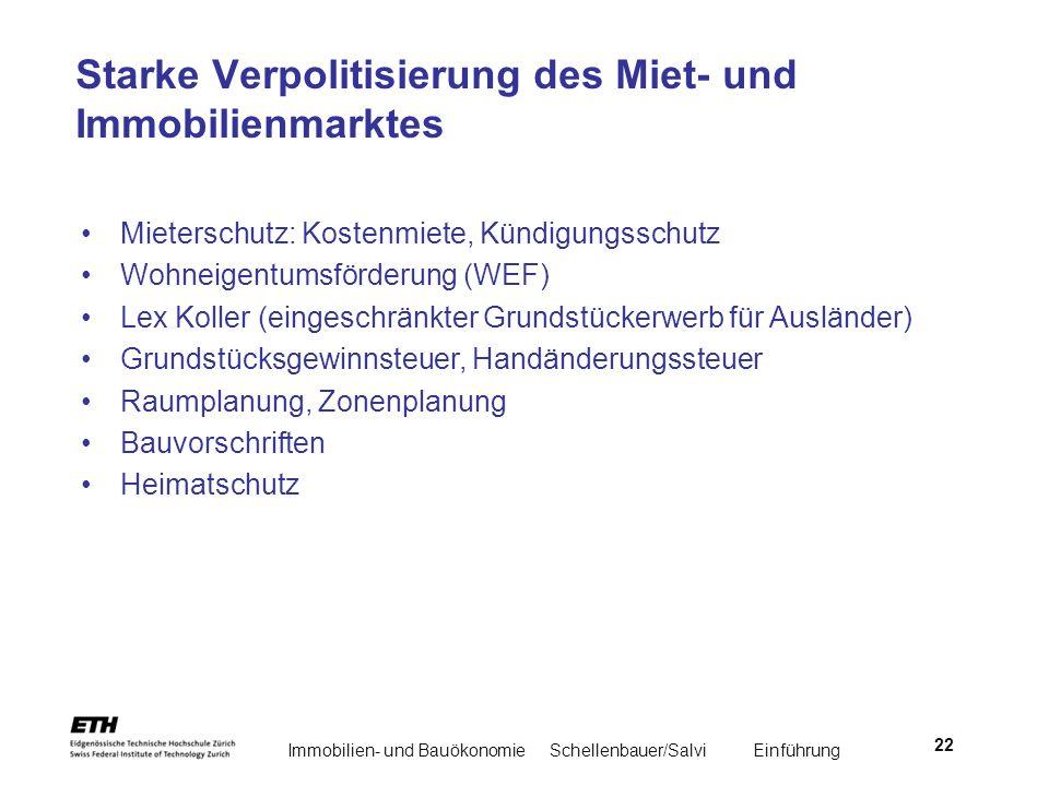Immobilien- und BauökonomieSchellenbauer/Salvi Einführung 22 Starke Verpolitisierung des Miet- und Immobilienmarktes Mieterschutz: Kostenmiete, Kündig