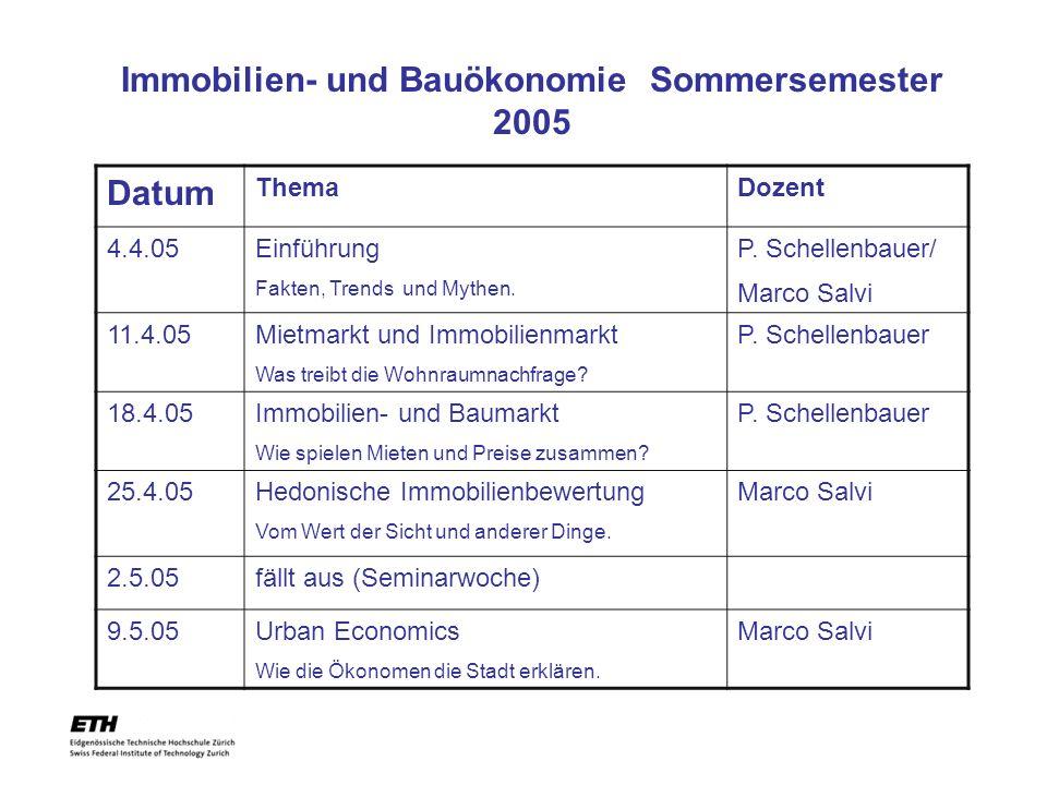 Datum ThemaDozent 4.4.05Einführung Fakten, Trends und Mythen. P. Schellenbauer/ Marco Salvi 11.4.05Mietmarkt und Immobilienmarkt Was treibt die Wohnra