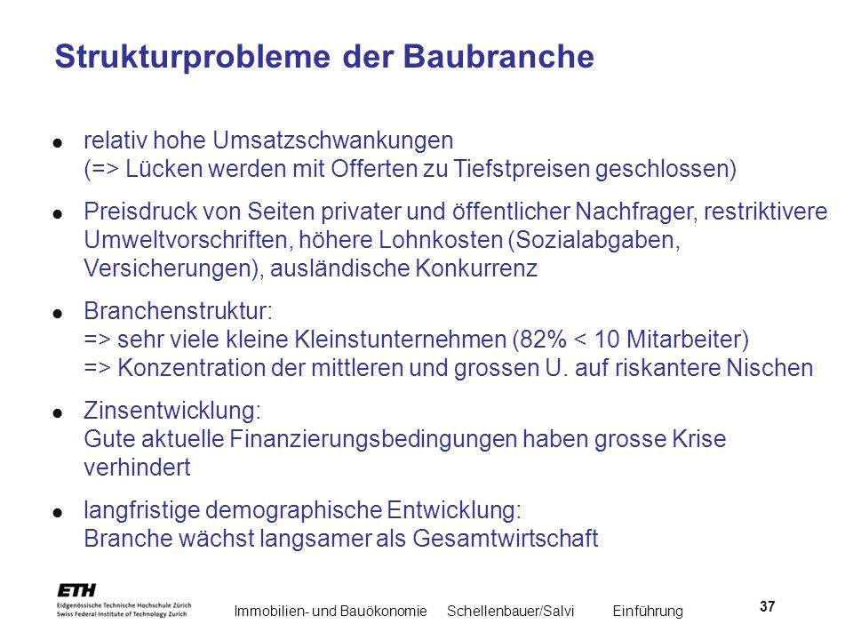 Immobilien- und BauökonomieSchellenbauer/Salvi Einführung 37 Strukturprobleme der Baubranche relativ hohe Umsatzschwankungen (=> Lücken werden mit Off
