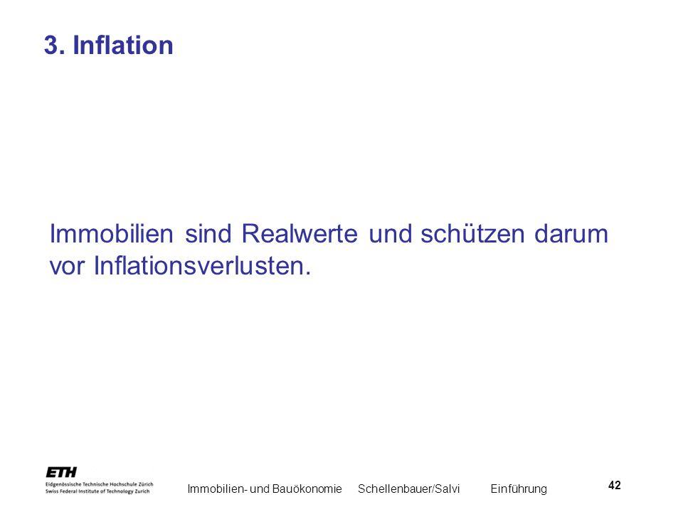 Immobilien- und BauökonomieSchellenbauer/Salvi Einführung 42 3. Inflation Immobilien sind Realwerte und schützen darum vor Inflationsverlusten.
