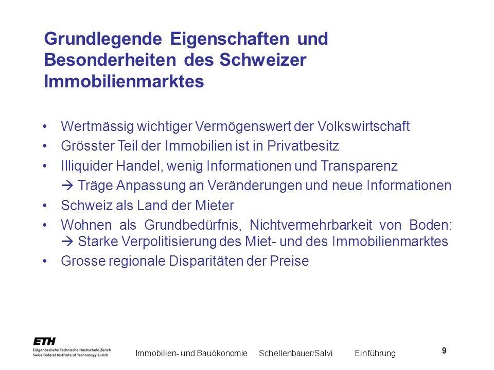 Immobilien- und BauökonomieSchellenbauer/Salvi Einführung 9 Grundlegende Eigenschaften und Besonderheiten des Schweizer Immobilienmarktes Wertmässig w