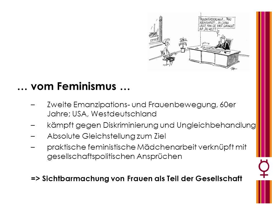… vom Feminismus … –Zweite Emanzipations- und Frauenbewegung, 60er Jahre; USA, Westdeutschland –kämpft gegen Diskriminierung und Ungleichbehandlung –A