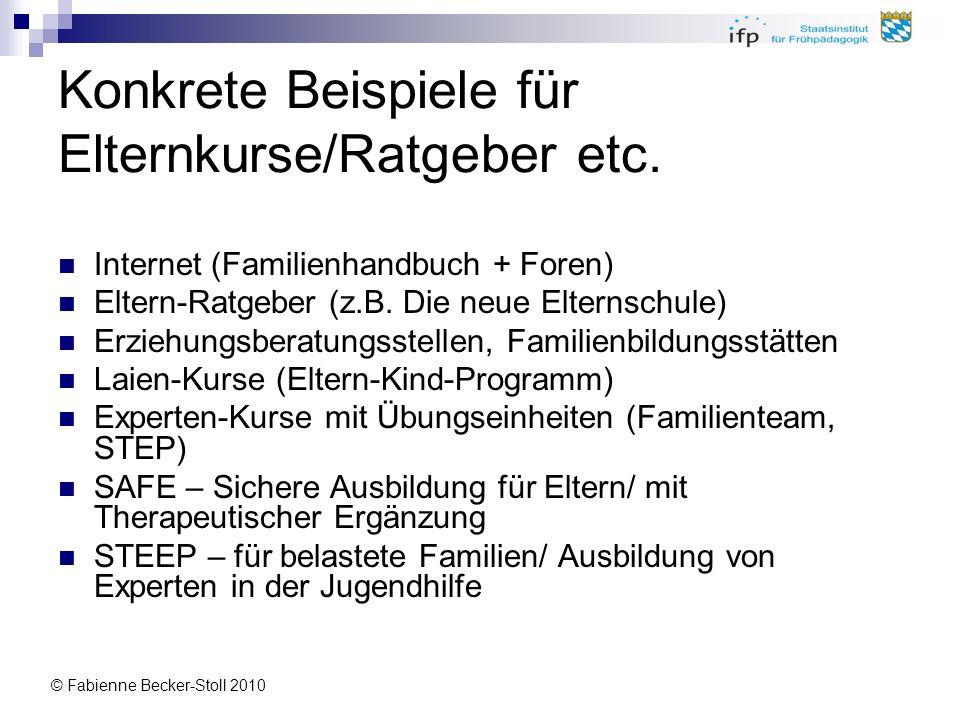 © Fabienne Becker-Stoll 2010 Konkrete Beispiele für Elternkurse/Ratgeber etc. Internet (Familienhandbuch + Foren) Eltern-Ratgeber (z.B. Die neue Elter